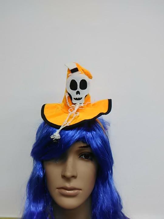 Обруч в форме шляпка с апликацией скелет