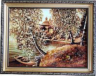 """Картина із бурштину, природа """"Човник на березі"""" (30 x 40 см) B100"""