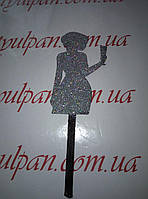Топпер для торта девушка с бокалом серебряный