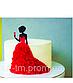 Топпер для торта девушка с бокалом серебряный, фото 3