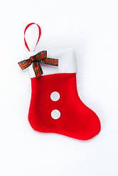 Сапожок новогодний для подарков Санта с бантом 18*9,5 см