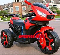 Детский трехколесный электро мотоцикл на аккумуляторе M 3965L-3 красный. Трицикл