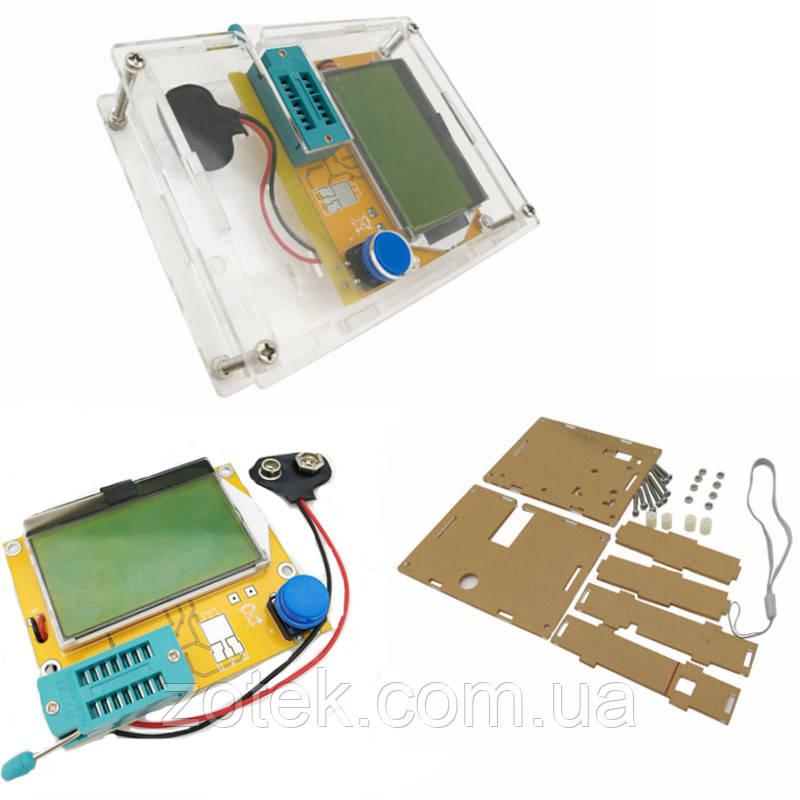 Mega328 LCR-T4 + корпус акриловий. Тестер електронних компонентів радіодеталей, LCR ESR метр транзистор тестер