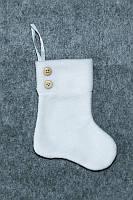 Новогодний сапожок для подарков белый 18*9,5 см