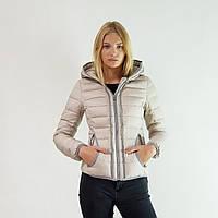 Пуховик-куртка зимний короткий женский Snowimage с капюшоном бежевый