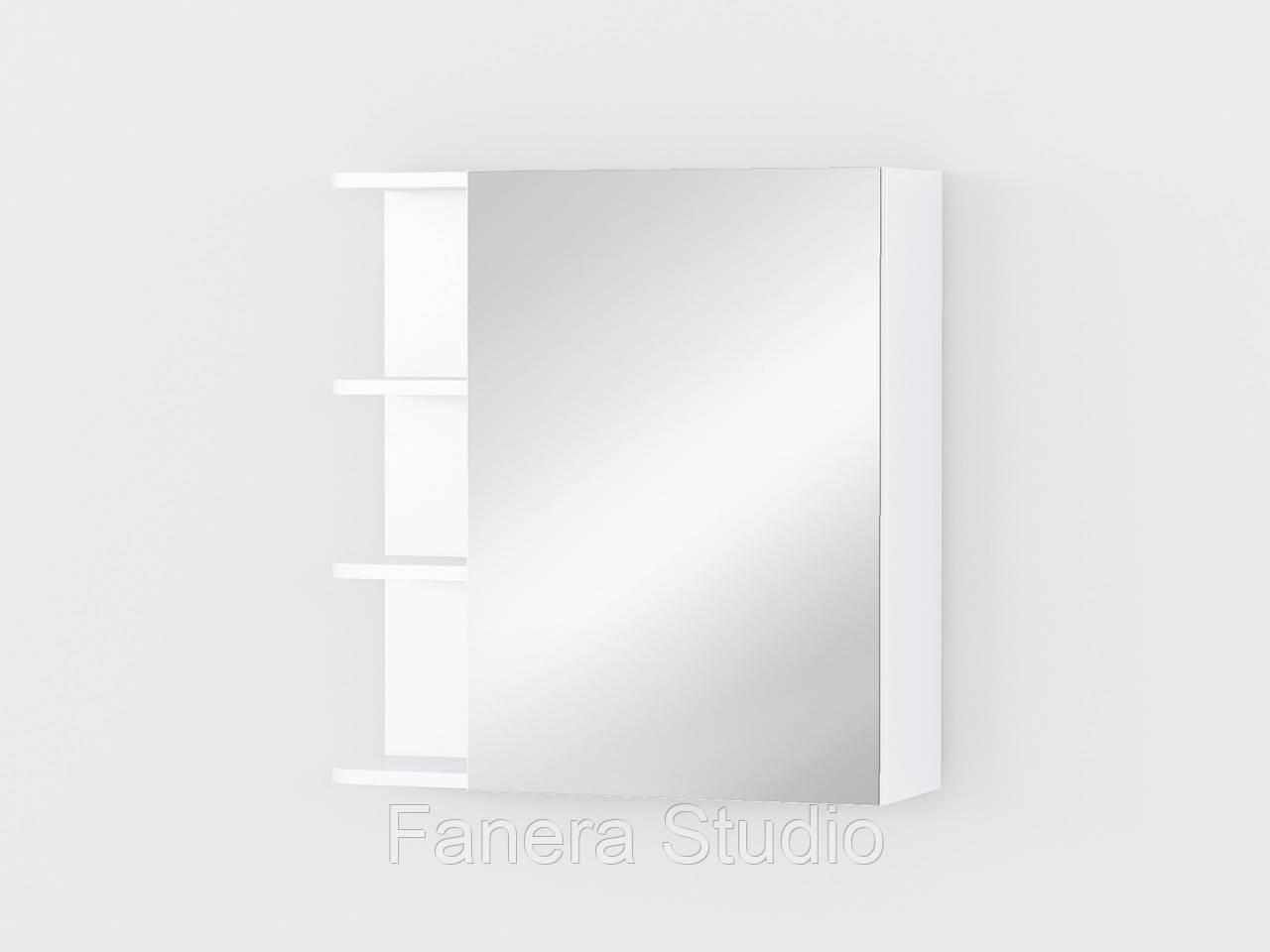 Полиця навісна з дзеркалом та трьома відкритими полицями