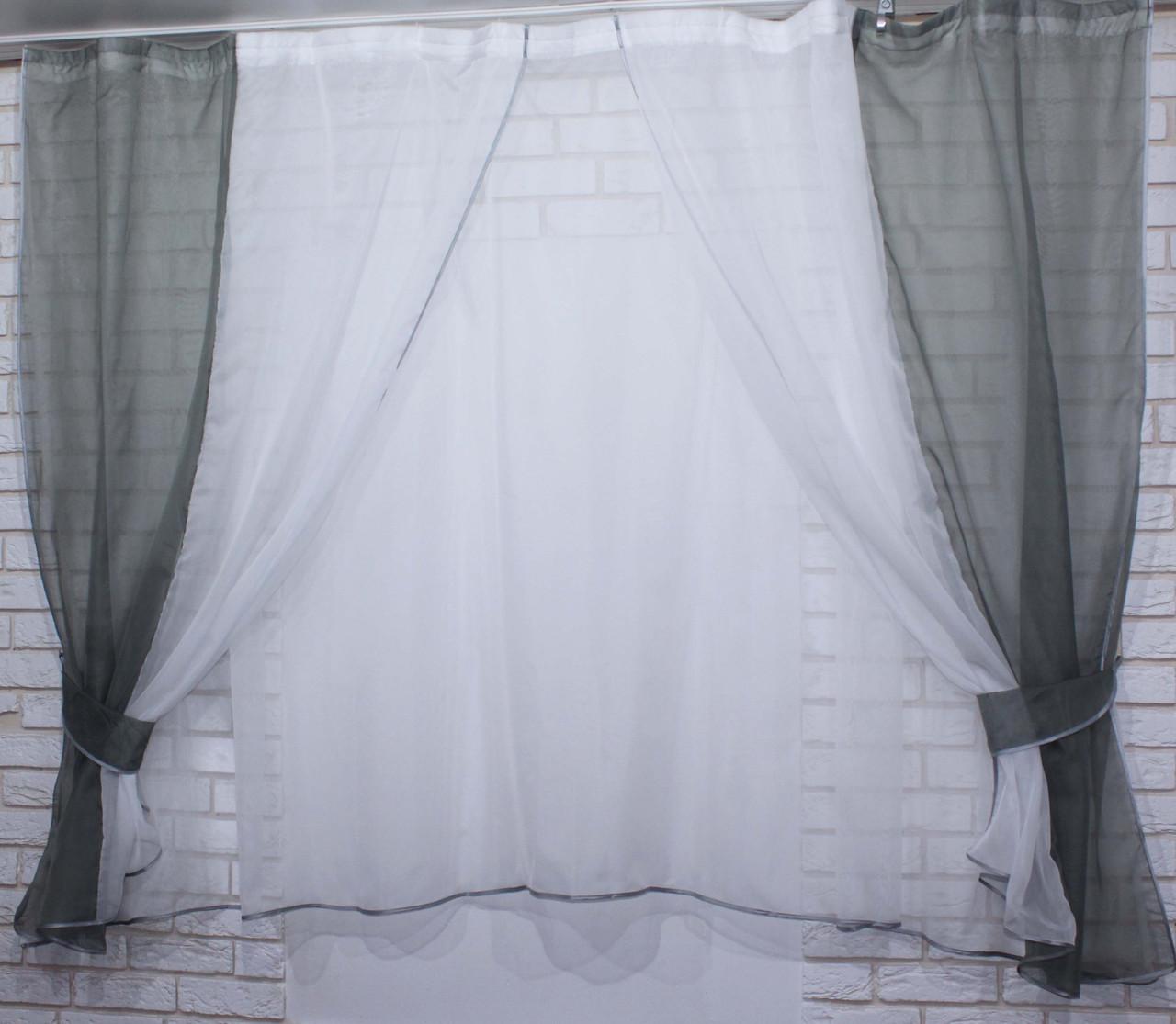 Комплект на кухню, тюль и шторки №38, Цвет серый с белым