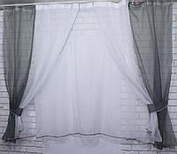Комплект на кухню, тюль и шторки №38, Цвет серый с белым, фото 1