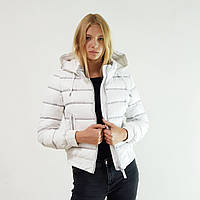 Пуховик-куртка зимний короткий женский Snowimage с капюшоном белый