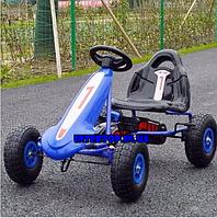 Детский педальный карт на надувных колесах Bambi M 4090A-4 синий