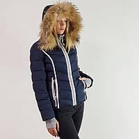 Пуховик женский с капюшоном зимний короткий Snowimage  натуральным мехом синий, скидки