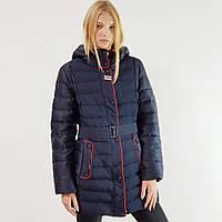 Зимний пуховик женский Snowimage с капюшоном средней длины синий, распродажа