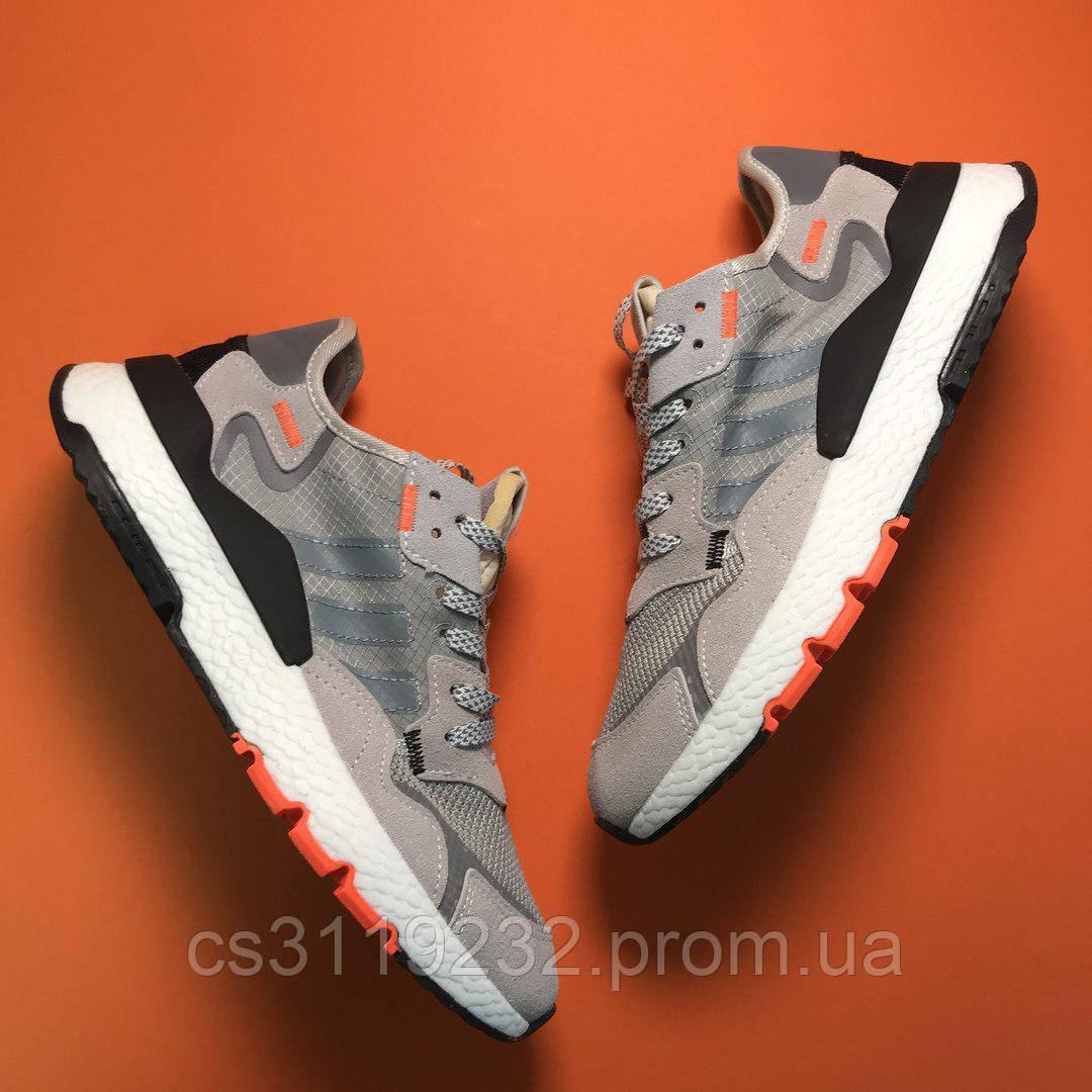 Мужские кроссовки Adidas Nite Jogger Grey Whitе (серые)