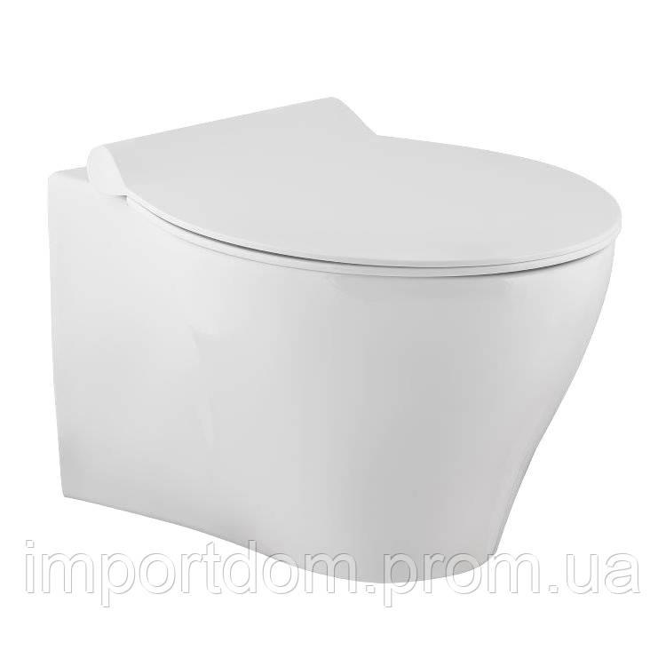 VOLLE IBERIA Rimless Подвесной безободковый унитаз 550*355*400 мм  с сиденьем Slim slow-closing 13-21-124