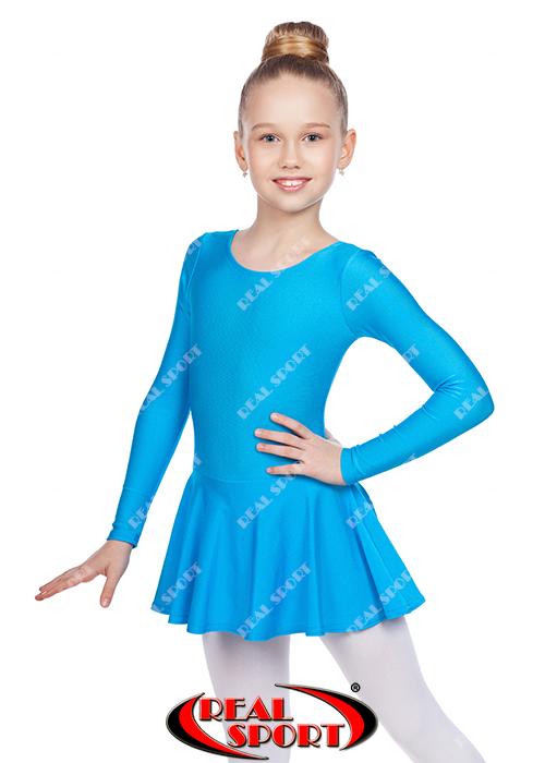 Купальник для гимнастики с юбкой, бирюзовый GM030121 (бифлекс, р-р 1-M, рост 98-134см)