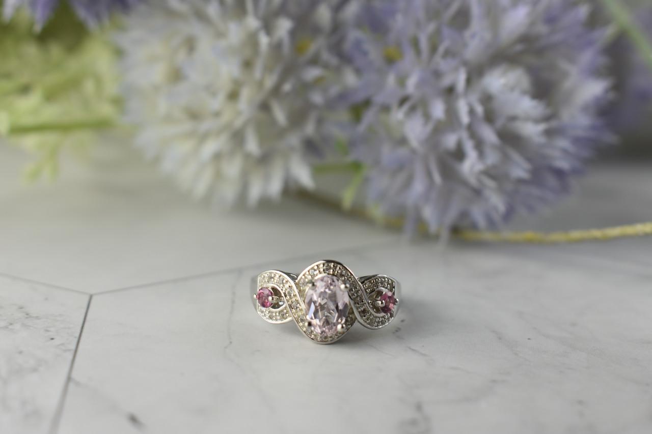 Серебряное кольцо с Морганитом и камнями Рубеллит и Кварц 925 проба