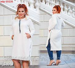 Сукня-туніка з капюшоном батал
