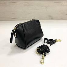 Мини сумка косметичка на молнии с ремешком / натуральная кожа арт. кт-869 Черный