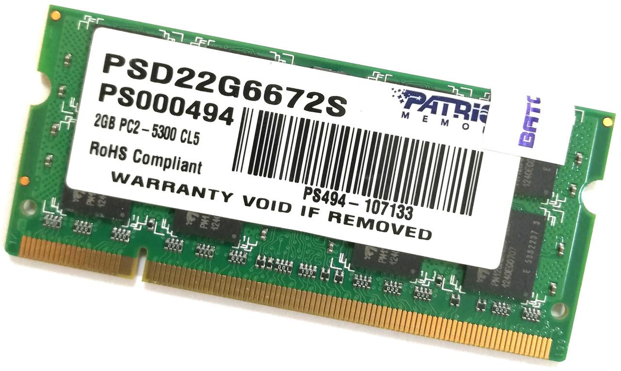 Оперативная память для ноутбука Patriot SODIMM DDR2 2Gb 667MHz 5300s CL5 (PSD22G6672S) Б/У