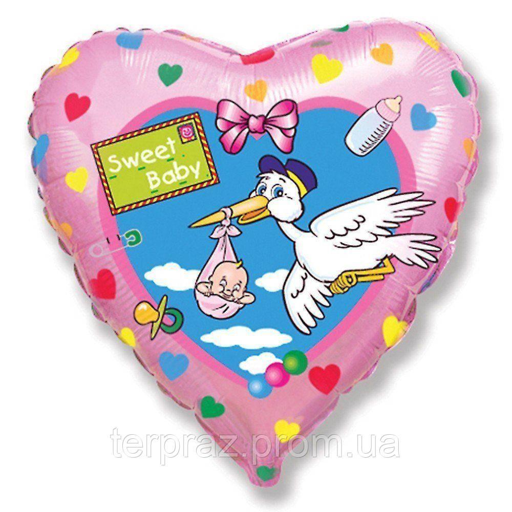 """Фольгированные шары с рисунком  18"""" аист """"sweet baby""""/fm"""