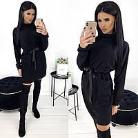 Платье женское черное с кулиской по талии АА/-1290, фото 1
