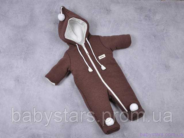 """Демисезонный комбинезон для новорожденных """"Гномик"""", коричневый каштан"""