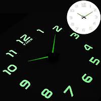 Большие бескаркасные настенные часы на стену светящиеся в темноте 8374