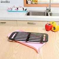 Сушилка для посуды со сливным носом (Розовый)