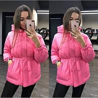 Женская объемная куртка в стиле Ленки с поясом розовая, фото 1