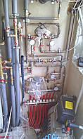 Котельная - с удаленной друг от друга установкой газового котла - обвязки котла - бойлера косвенного нагрева