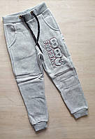 """Детские спортивные штаны на флисе для девочек """"88 Football"""" от 5до 8лет, серого цвета"""