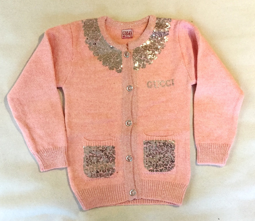 "Вязанная кофта ""GUCCI"" на девочку розового цвета"