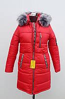 Зимняя красная куртка до 66 размера, фото 1