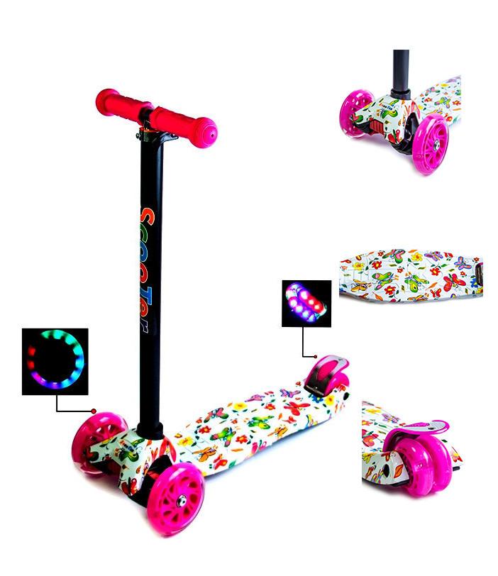 +Подарок Детский самокат MAXI. Розовые бабочки. Малиновые светящиеся колёса.