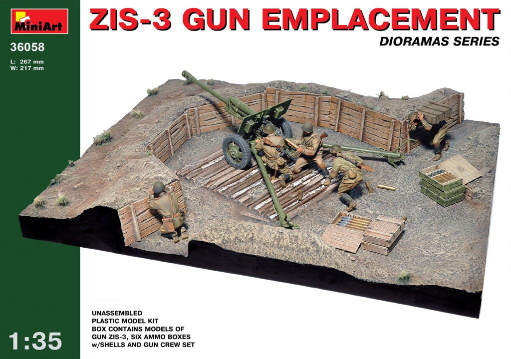 Набор для постройки диорамы.  Капонир для дивизионной пушки ЗИС-3 и артиллерийский расчет. 1/35 MINIART 36058