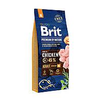 Brit Premium Adult M 15 кг. Полноценный корм с курицей для взрослых собак средних пород