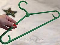 Зеленые пластмассовые плечики вешалки 41см зимние для верхней одежды, фото 1