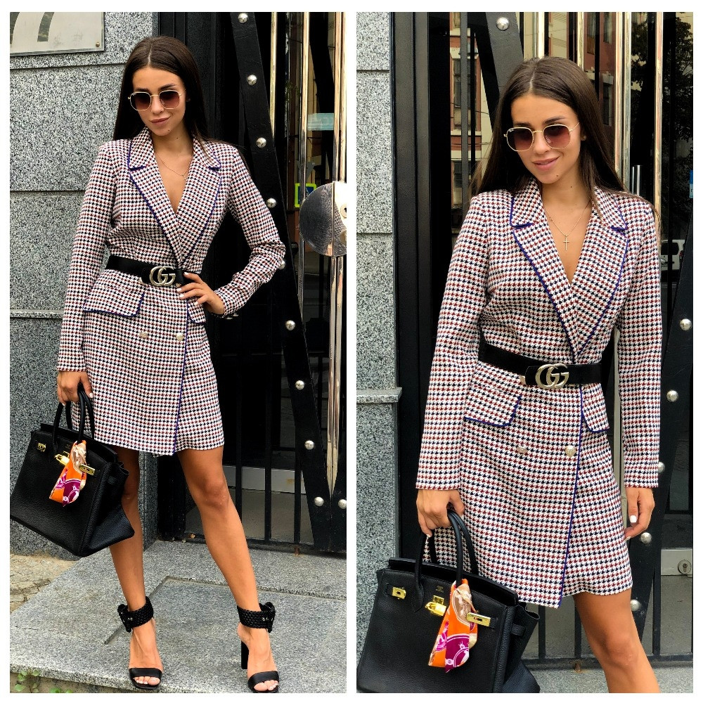 Платье пиджак женское в клетку с пуговицами, офисное, строгое, повседневное, с поясом в комплекте
