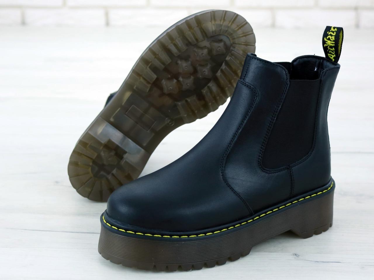Женские ботинки Dr.Martens Black PLATFORM CHELSE натурал кожа, демисезон черные. ТОП Реплика ААА класса.