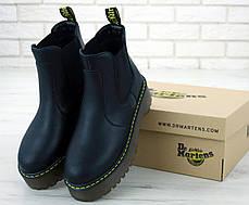 Женские ботинки Dr.Martens Black PLATFORM CHELSE натурал кожа, демисезон черные. ТОП Реплика ААА класса., фото 3