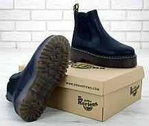 Женские ботинки Dr.Martens Black PLATFORM CHELSE натурал кожа, демисезон черные. ТОП Реплика ААА класса., фото 2