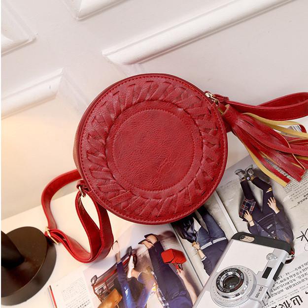 Жіноча кругла сумка, червона ( код: IBG030R )