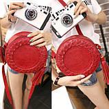 Жіноча кругла сумка, червона ( код: IBG030R ), фото 5