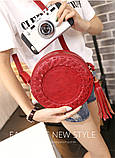 Жіноча кругла сумка, червона ( код: IBG030R ), фото 7