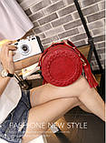 Жіноча кругла сумка, червона ( код: IBG030R ), фото 8