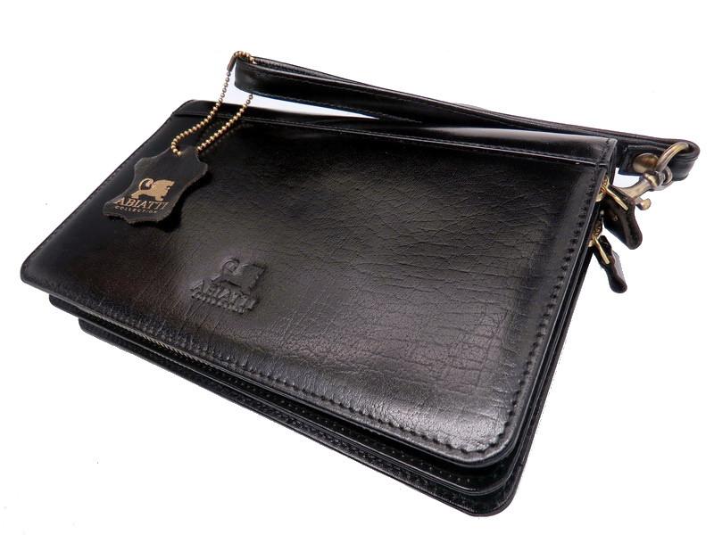 Чоловічий шкіряний гаманець портмоне клатч міні барсетка Abiatti чорний