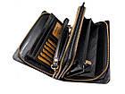 Чоловічий шкіряний гаманець портмоне клатч міні барсетка Abiatti чорний, фото 3