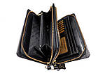 Чоловічий шкіряний гаманець портмоне клатч міні барсетка Abiatti чорний, фото 4