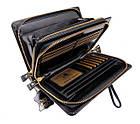 Чоловічий шкіряний гаманець портмоне клатч міні барсетка Abiatti чорний, фото 5
