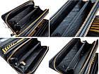 Чоловічий шкіряний гаманець портмоне клатч міні барсетка Abiatti чорний, фото 8